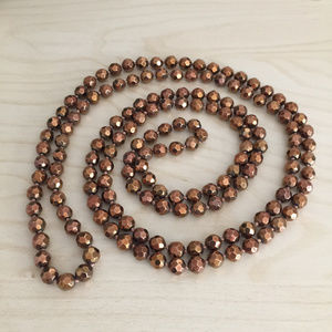 Long Strand Beaded Necklace - Copper